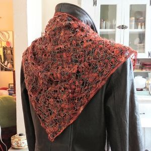 Crochet Triangle Scarf Sparkly Orange Headscarf